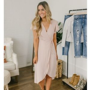 High Low Wrap Midi Dress - Natural Pink